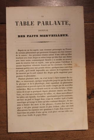 Prospectus pour La Table Parlante Journal des Faits Merveilleux (1854). Retour sur un phénomène para