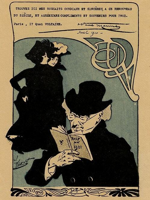 1901 Henri Thiriet Octave Uzanne Carte de voeux artistique rare Art Nouveau
