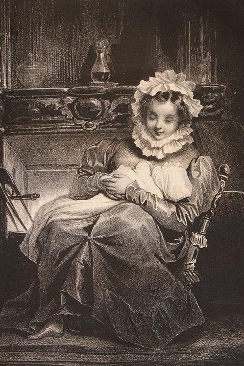 """Lithographie originale 1829 Achille Devéria """"La jeune mère"""""""