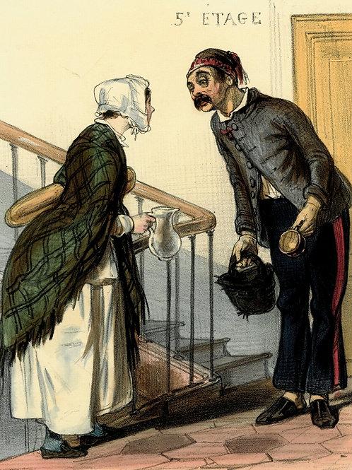 Lithographie originale aquarellée gommée époque PARIS LE MATIN