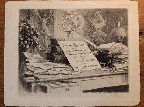 Carte de voeux pour Octave Uzanne (1891). Félicien Rops