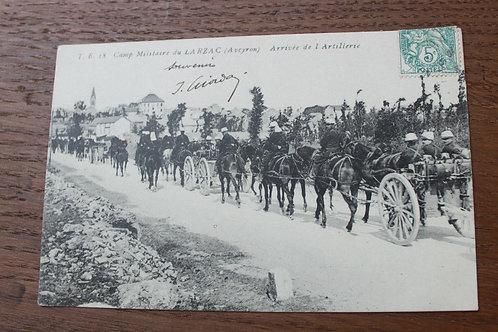CPA Camp militaire du Larzac Aveyron Arrivée de L'Artillerie 1908