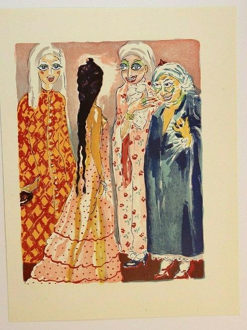 Kees Van Dongen Estampe couleurs 1955 aquarelle Mille et une nuits Oriental N°5