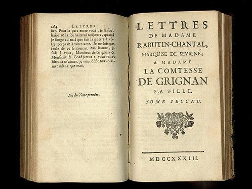 Marquise de Sévigné. Lettres à sa fille comtesse de Grignan (1733). Rare