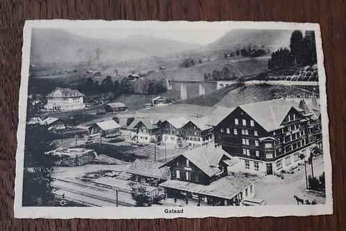 CPA Gstaad sous neige Hiver Suisse Berne Village Gare Hôtel