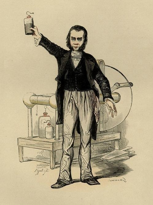 1842 UN BANQUISTE ARTISTE FORAIN FOIRE HOMME Français gravure estampe aquarellée