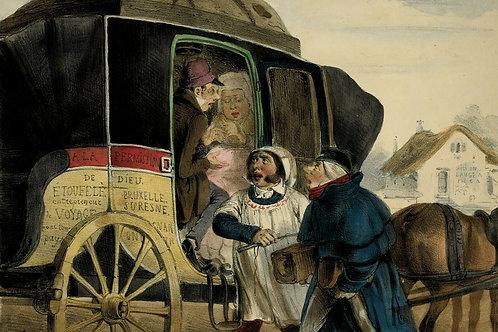 PRUCHE Voitures Locomotion Lithographie originale époque aquarellée gommée 1840