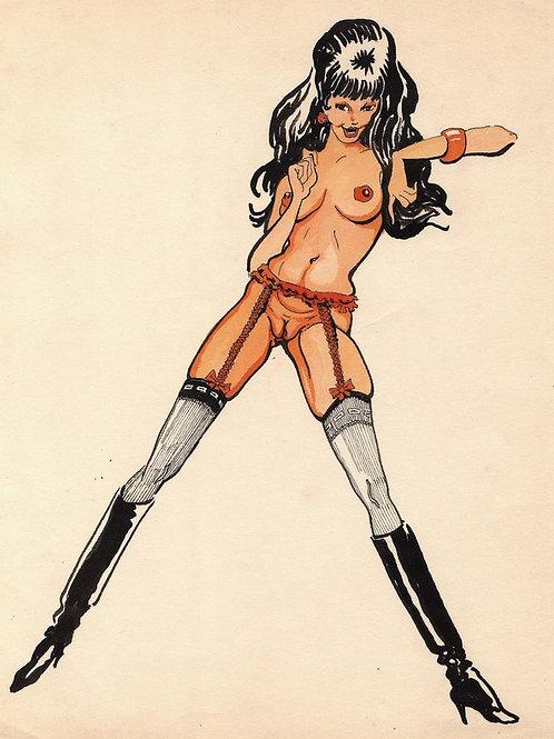 Dessin érotique vintage (vers 1970). Barbarella brune ...
