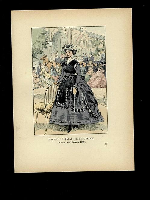 Fr. Courboin Estampe aquarellée époque 1898 mode femme histoire costume n°89