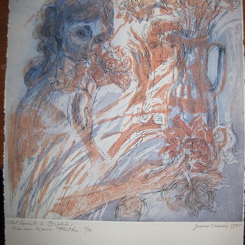Eau-forte originale en couleurs par Jeanne Esmein (1975). Très rare. 12 ex.. 12
