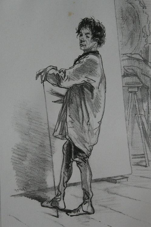 GAVARNI Lithographie originale série PHYSIONOMIES PARISIENNES - COMMERCE MUSES
