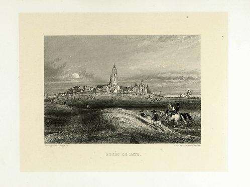 1856 Bords Loire Gravure sur acier tirée sur chine contrecollé Bourg de Batz