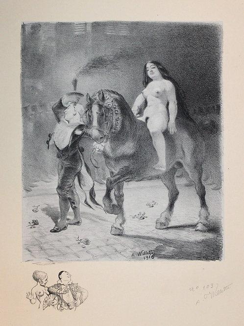1916 Lithographie Les Sept Péchés Capitaux L'Orgueil Adolphe Willette