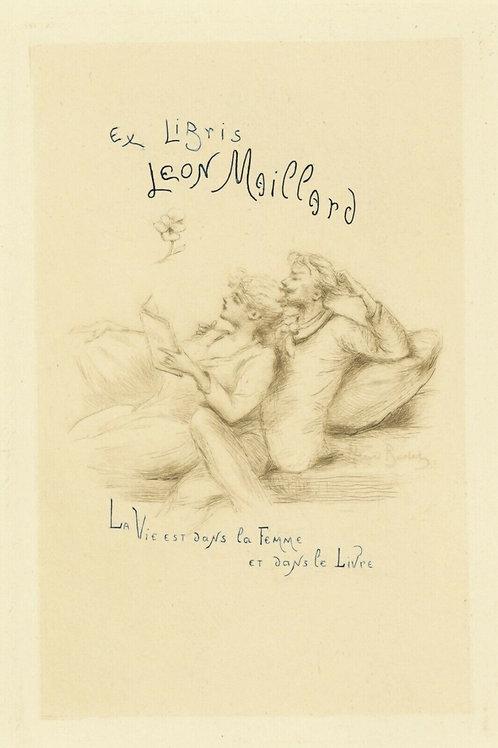 1894 HENRI BOUTET Pointe sèche EX LIBRIS LEON MAILLARD LIVRE etching 1/400 ex.