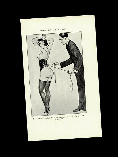 Gravure 1930 BDSM fessée curiosa spanking bondage domination sado masochisme