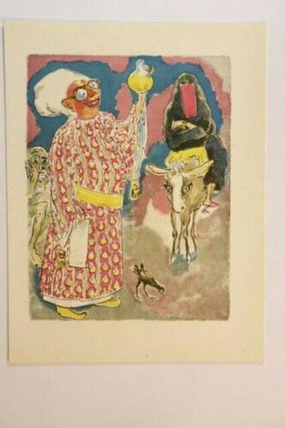 Kees Van Dongen Estampe couleurs 1955 aquarelle Mille et une nuits Oriental N°52