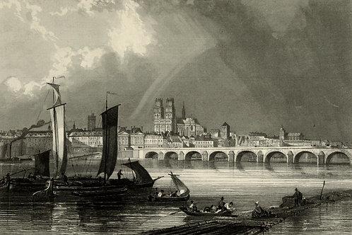1856 Bords de Loire Gravure sur acier tirée sur chine contrecollé Orléans Loiret