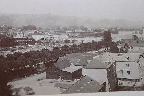 Photographie ancienne 1899 Pau Hautes Pyrénées Ville basse Gave Montagne