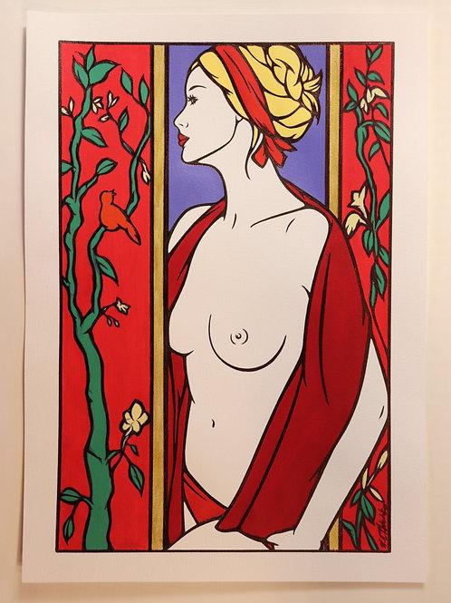 """Sophie Dumont. Dessin original sexy 26,5 x 17 cm acrylique et stylo """"SHANA"""""""