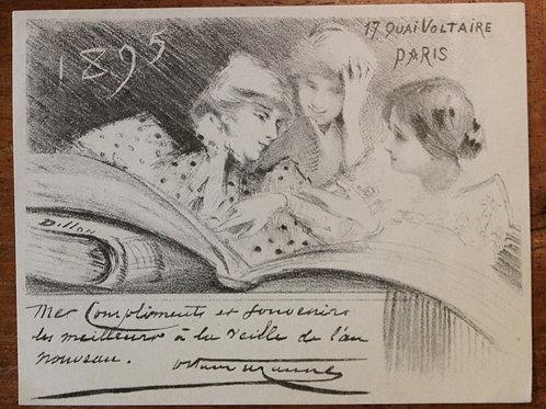 Carte de voeux pour Octave Uzanne (1895). H. P. Dillon