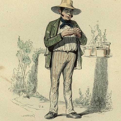 1842 HOMME HORTICULTEUR Français gravure estampe aquarellée époque