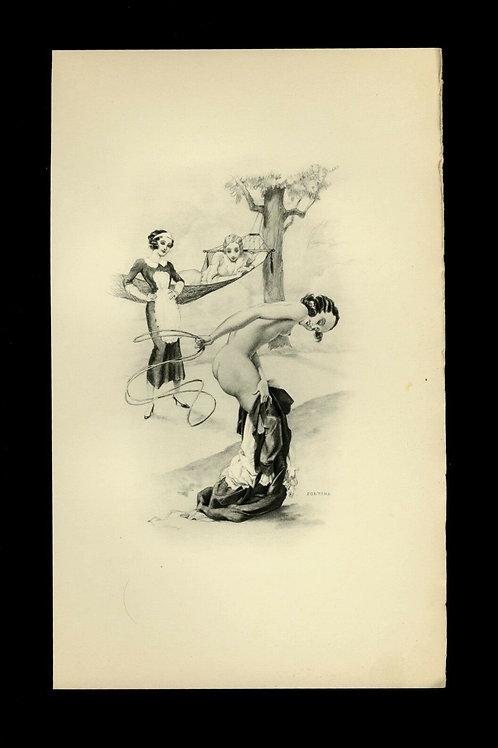 1934 Léo Fontan Fontana illustration héliogravure Fouet Fessée