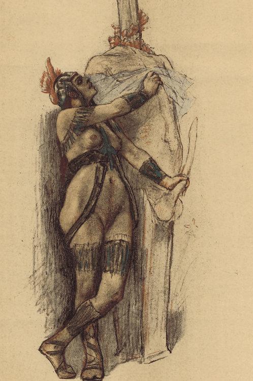 Félicien Rops. La Prêtresse antique. Héliogravure rehaussée au pinceau. Rare.