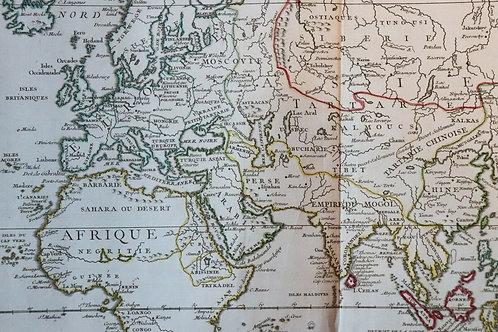 1750 Antique Map Carte géographique Partie Orientale Monde Europe Asie Afrique