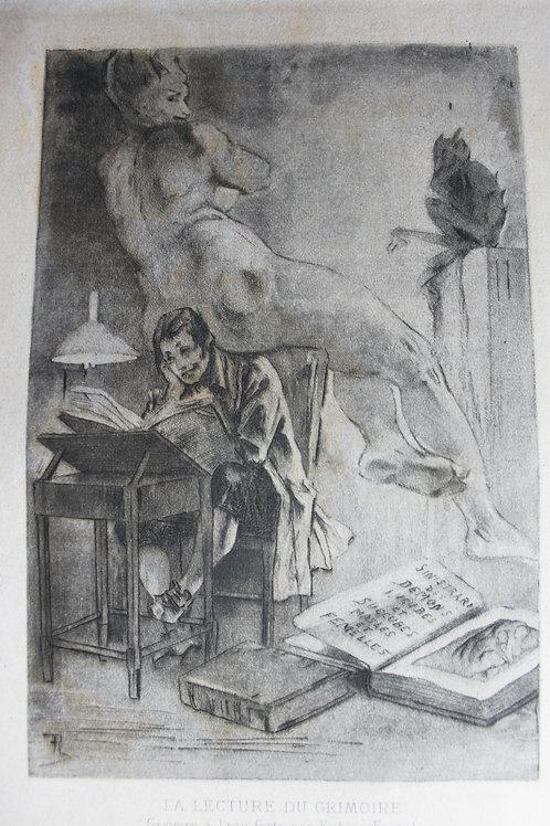 La Lecture du Grimoire par Félicien Rops (1890). 2 épreuves rares