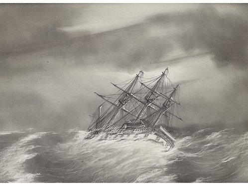 Pélisson. Bateaux, voiliers trois mats, pris dans la tempête (1845). Superbe