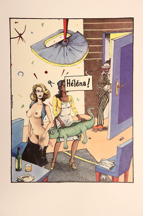Philippe Bertrand. Scène d'intérieur. Sérigraphie originale. 1982