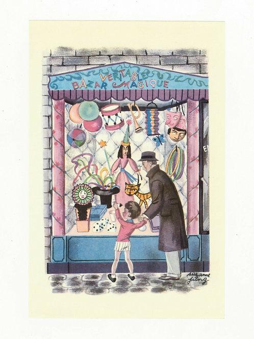 Suzanne Jung iIllustration couleur offset 1955 fête enfant bazar magique