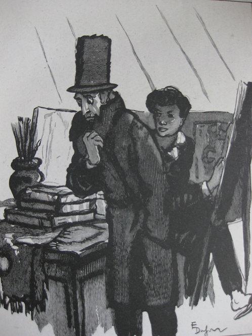 Le peintre gravure sur bois signé E. Dufour sur papier Chine 1930