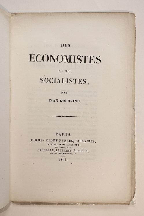 Ivan Golovine. Des économistes et des socialistes (1845). Rare brochure