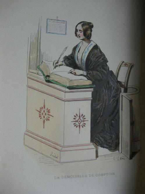 vers 1840 gravure sur bois aquarellée a la main genre Gavarni Mlle au comptoir