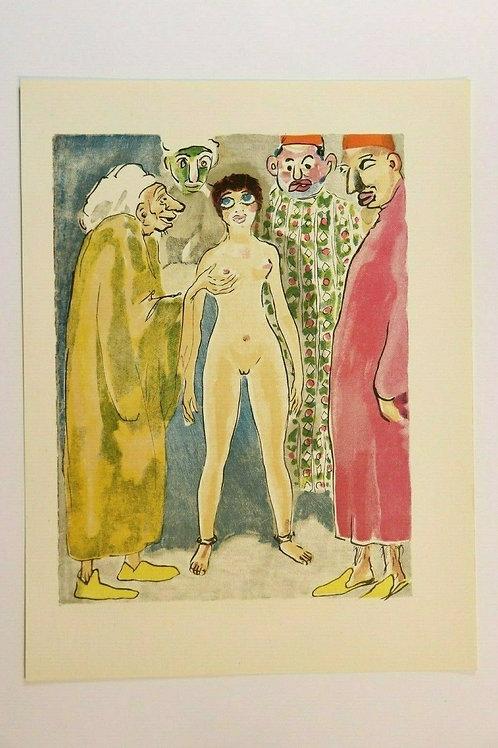 Kees Van Dongen Estampe couleurs 1955 aquarelle Mille et une nuits Oriental N°80