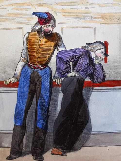 Les Débardeurs, Lithographies par Paul Gavarni (1840). Rare