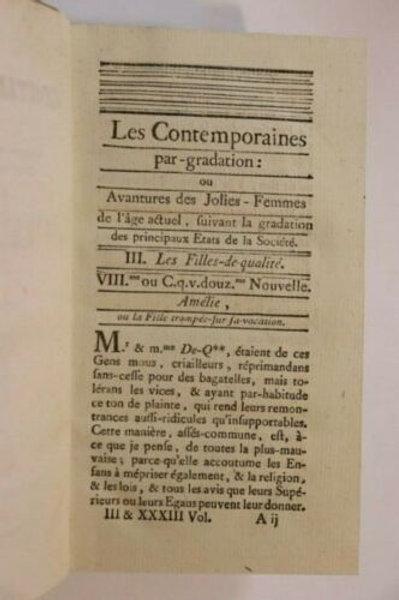 1783 (1825) Rétif de la Bretonne Restif Bretone Les Contemporaines XXXIIIe vol.