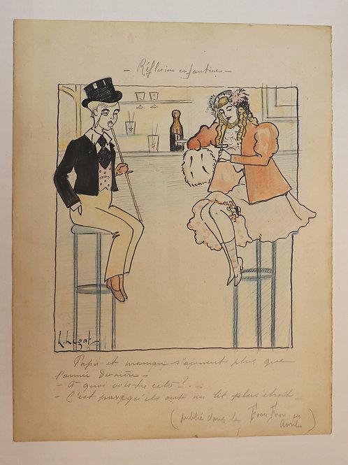 Dessin original pour le Frou-Frou (vers 1900-1910). Jeunes filles au bar.