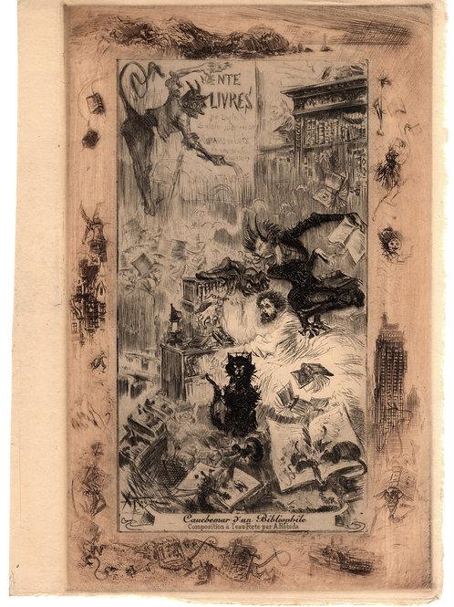 1890 1894 Estampe originale Cauchemar d'un Bibliophile Albert Robida Uzanne