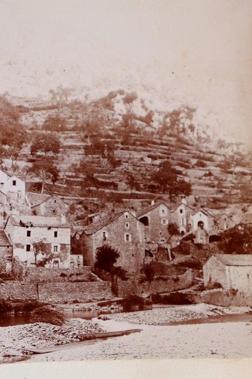 Photographie ancienne 1899 Village Pougnadoires sur Le Tarn