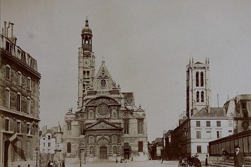 Paris 1900 Photographie ancienne 1900 église Saint-Etienne-du-Mont Place