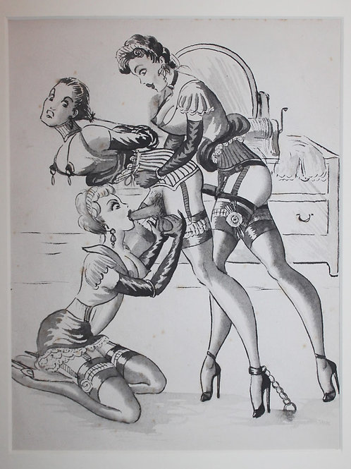 Suite de 11 dessins originaux érotiques Fetish BDSM vers 1940 UK USA