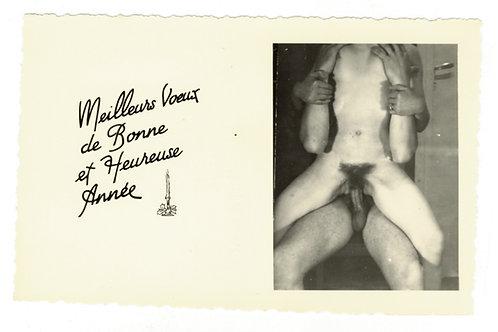 """9 cartes de vœux """"vintage"""" amateur X (vers 1960). Couple. Rare"""