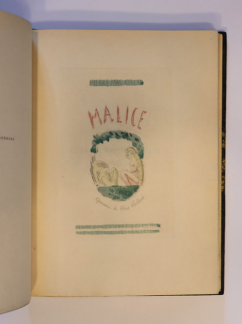 Mac-Orlan. Chas Laborde. MALICE. 1924. 1/40 Japon. Reliure signée. Rare.