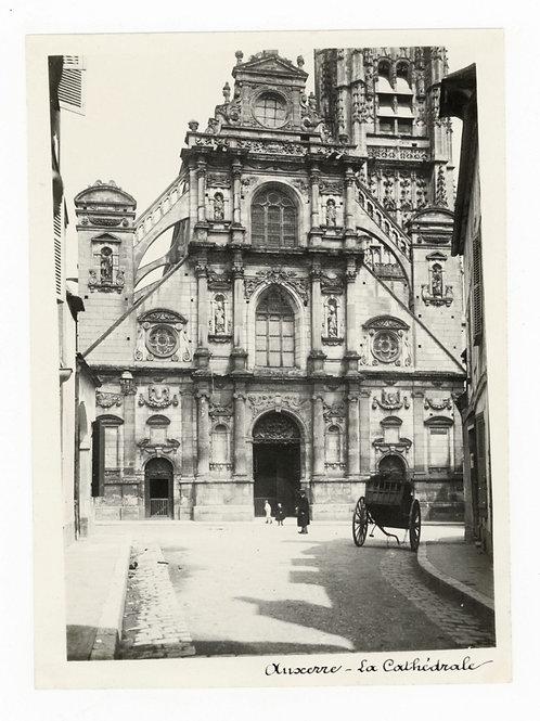Photographie ancienne vers 1910 Auxerre Yonne Bourgogne La cathédrale