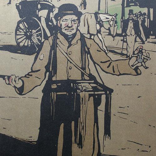 Les types de Londres Le Camelot lithographie W. Nicholson 1898