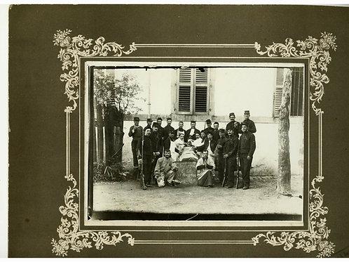 Grande photo ancienne 1910 Père 100 régiment Toul humour soldat militaires armée