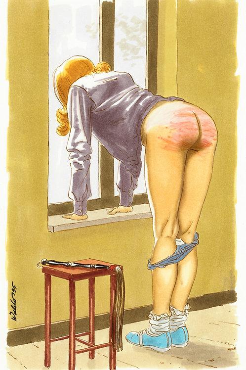 Waldo. 1995. Dessin original érotique (fesses rougies à la fenêtre). BDSM