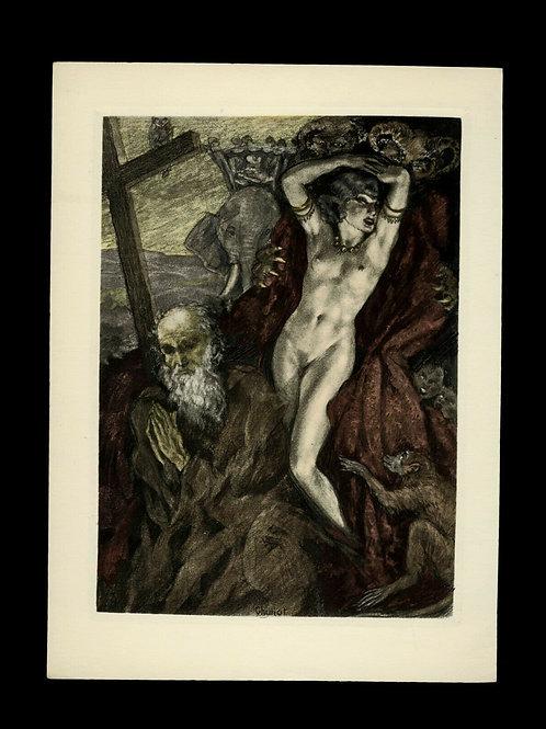 Edouard Chimot Estampe Eau-forte en couleurs vers 1935 Femme prière homme